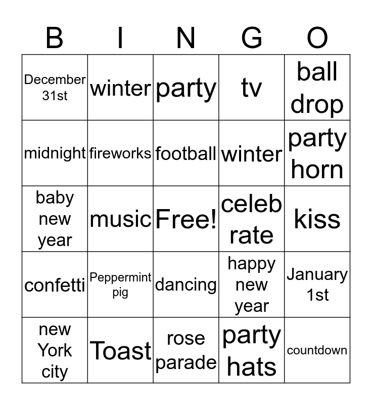 New Years EVE BINGO Card