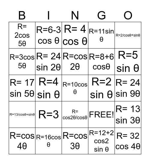 trig Bingo Card