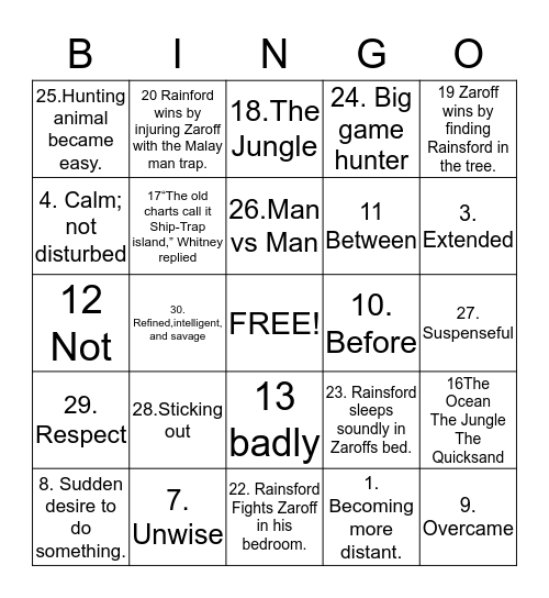 The Most Dangerous Game of Bingo! Bingo Card