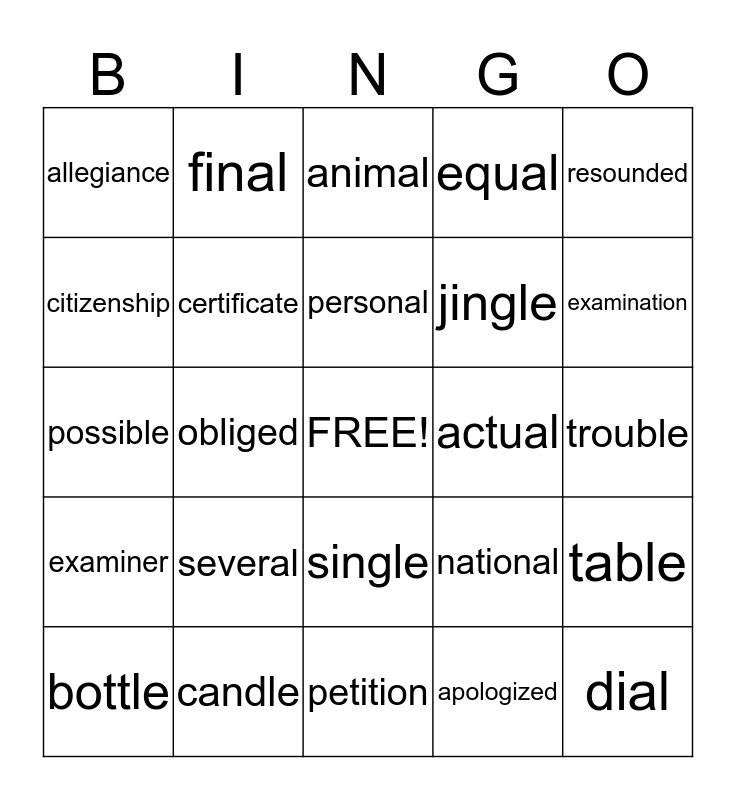 A Very Important Day Bingo Card