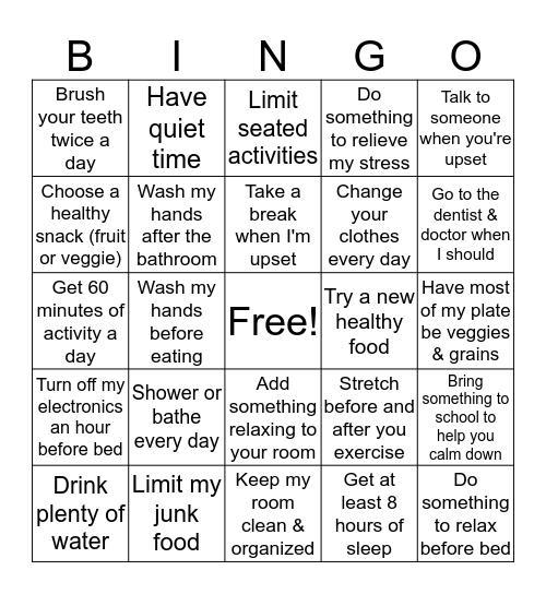 Healthy Habits Bingo Card