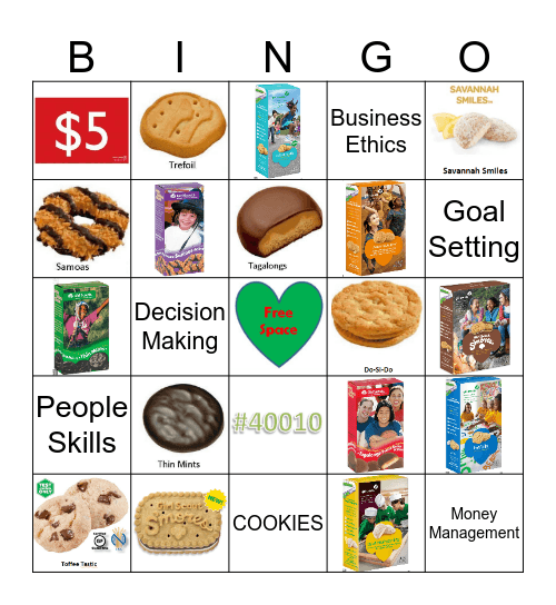 2017 Girl Scout Cookie Bingo Card