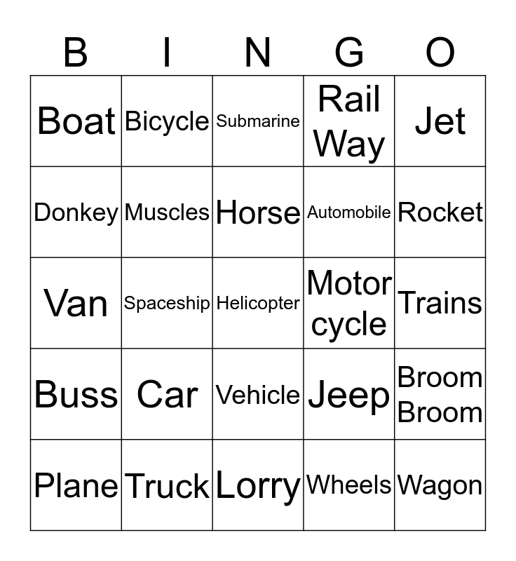 Transportation Bingo Card