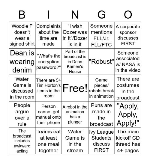 FRC Kickoff Bingo! Bingo Card