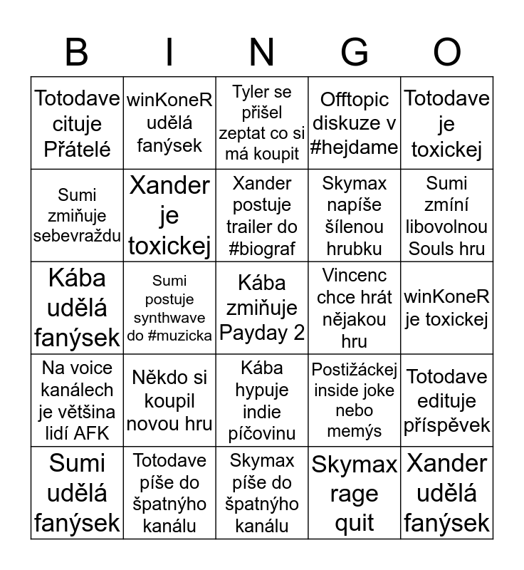 Daily Discord Bingo Card