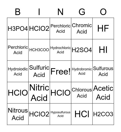 Name That Acid! Bingo Card