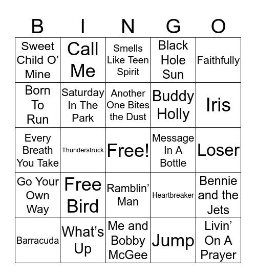 70s, 80s, & 90s Rock Bingo Card