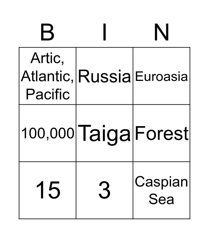 Russia Study Game Bingo Card