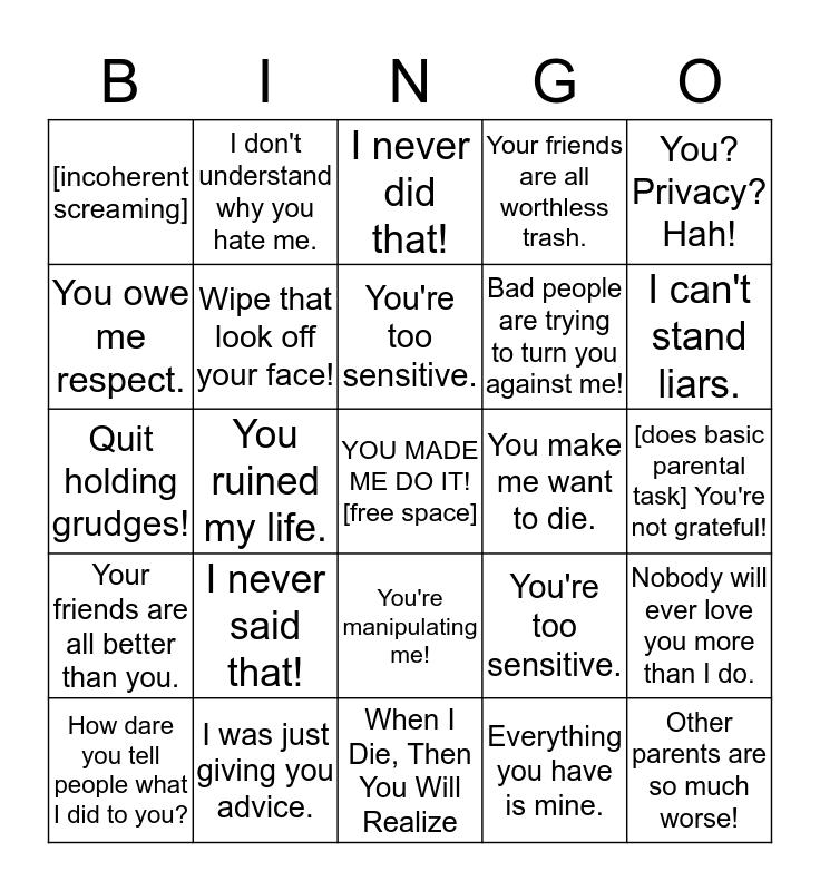 NParent Bingo Card