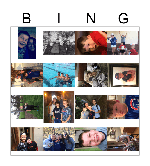 Zachary's Birthday Bingo Card
