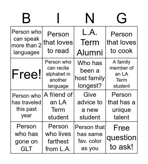 L.A. Term 2017 Bingo Card