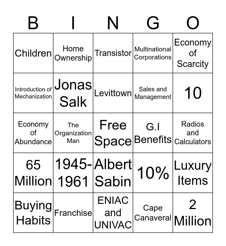 Chapter 22 Section 2 Bingo Card