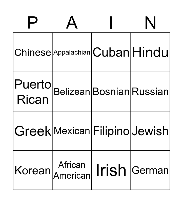 Cultural Differences to Pain Bingo Card
