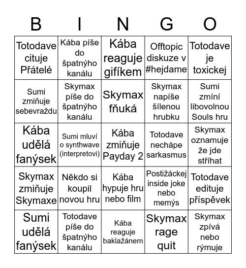 Postižácké Discord Bingo v 1.0.3 Bingo Card