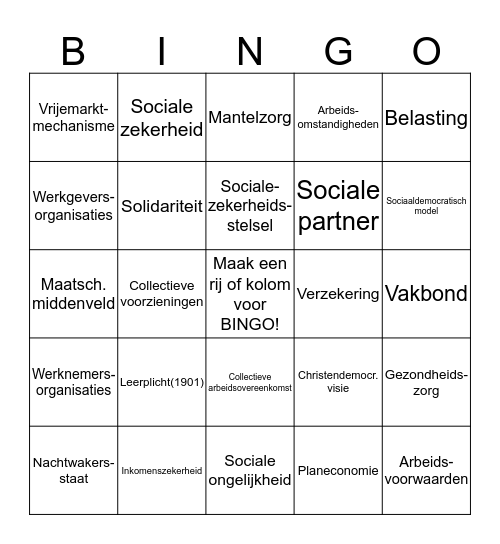 Verzorgingsstaat begrippen P1&2 Bingo Card