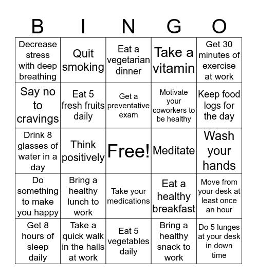 Getting Healthy in 2017 Bingo Card