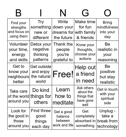 Action for Happiness Bingo Card