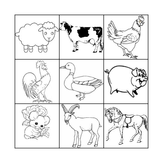 Farm Animals Bingo Card