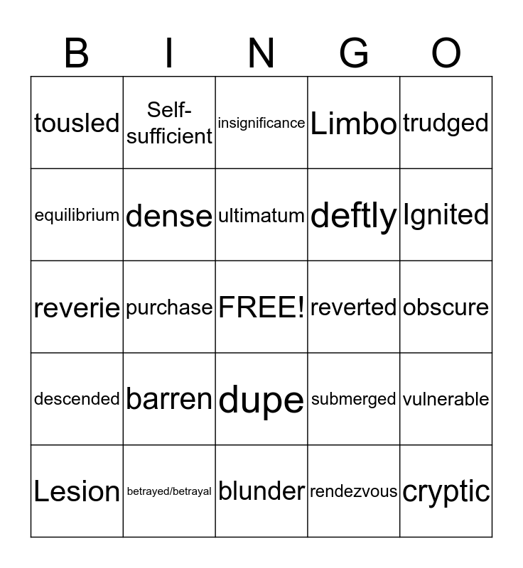 Uglies Bingo Card