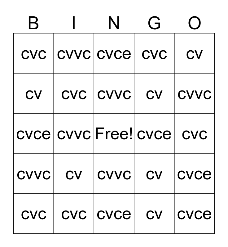 Phonics Bingo Card