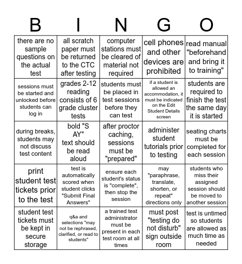 TELPAS Reading Test Administrator Manual Bingo Card
