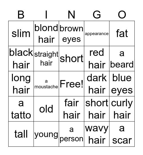 Appearance Bingo Card