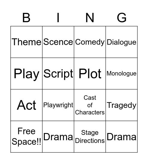 Drama BINGO Card