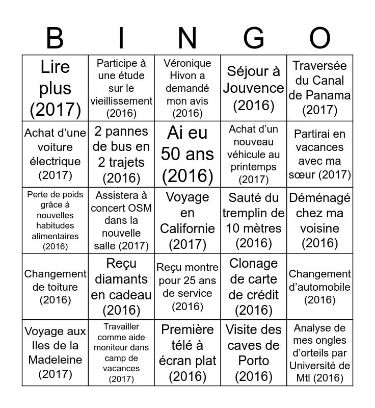 Bingo des anecdotes Bingo Card