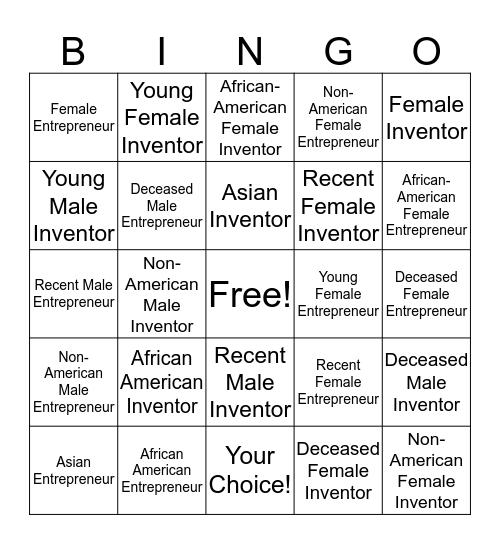 American Inventors and Entrepreneurs Bingo Card