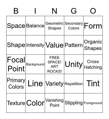 Art 1 Final Review Bingo Card