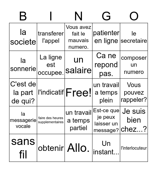 French 3/4; Chap. 2, Vocab. 2 Bingo Card
