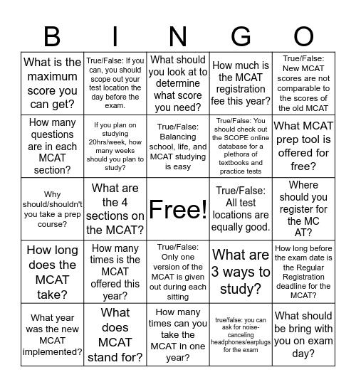 MCAT Must-Knows Bingo Card
