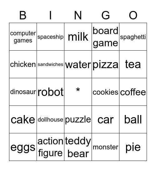 My Toys and Food Bingo Card