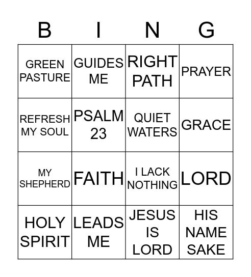 Lord is my Shepherd Bingo Card