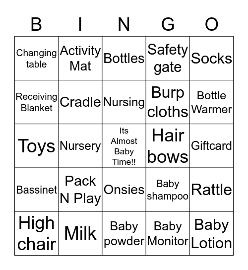 Mike & Tracy's Baby Shower Bingo Card