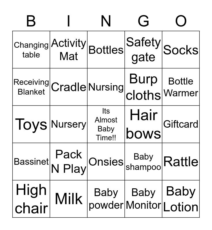 Mike & Tracy's Baby Shower Bingo Card