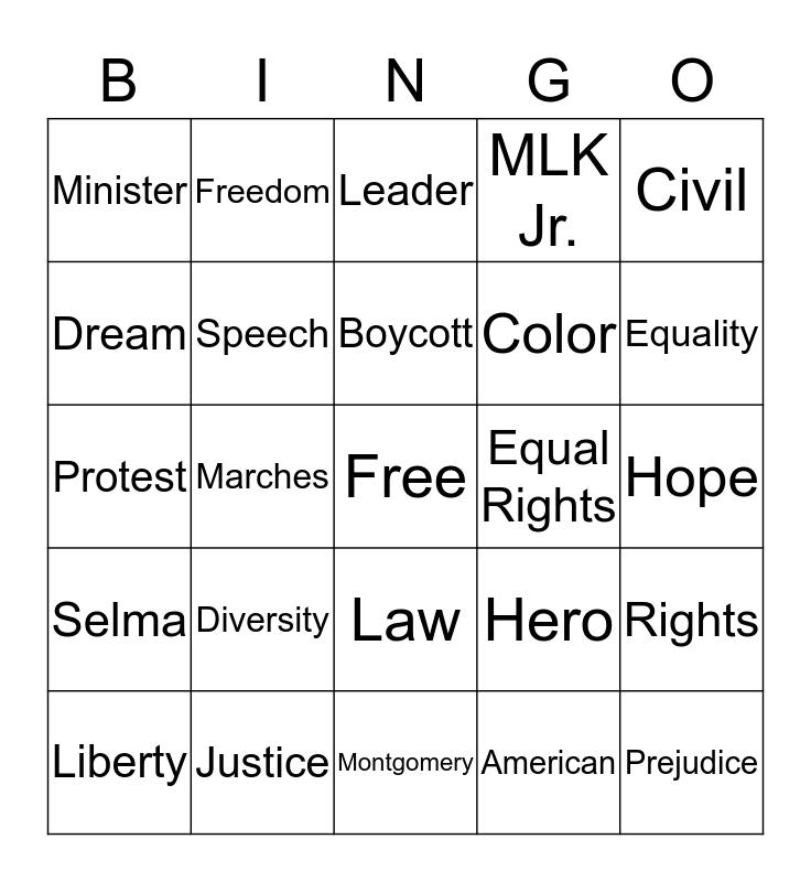 MLK Jr. Bingo Card