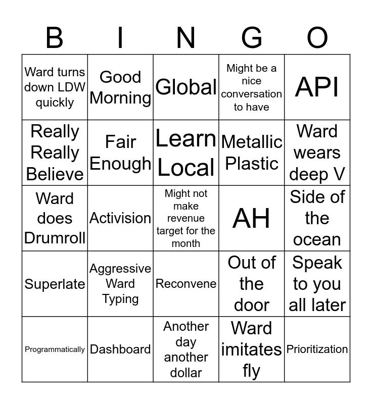 Jan Ward Bingo Card