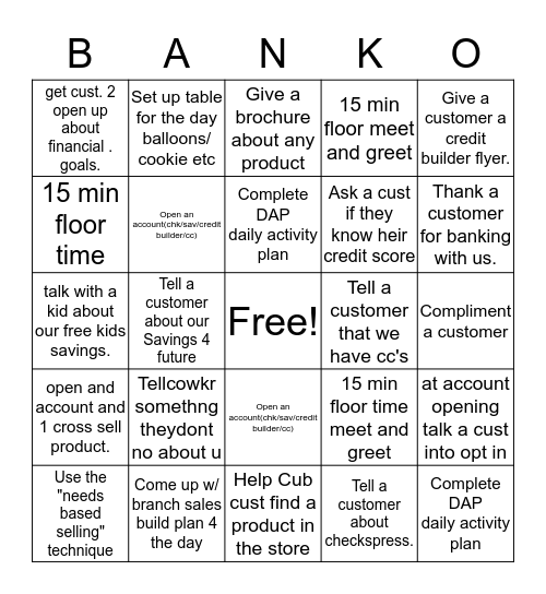 Guaranty Bingo 608 Bingo Card