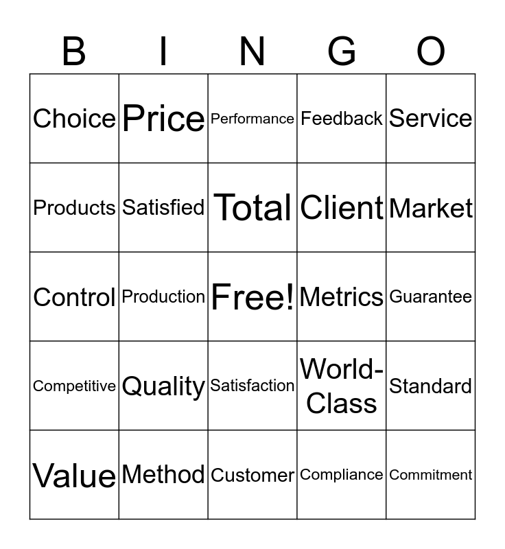 Quality Bingo Card