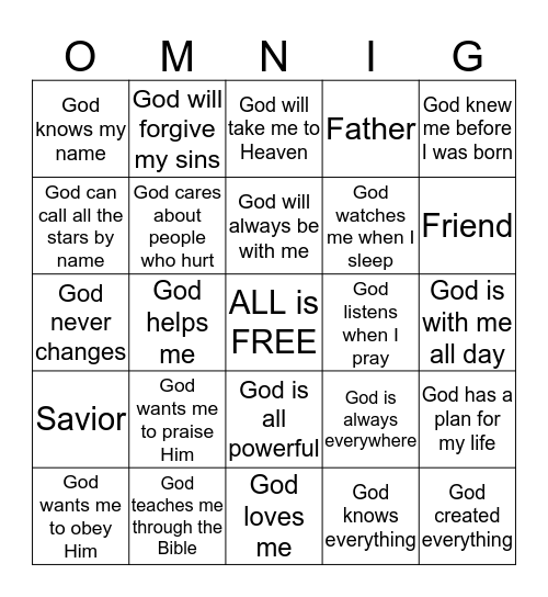 God is ALL Bingo Card