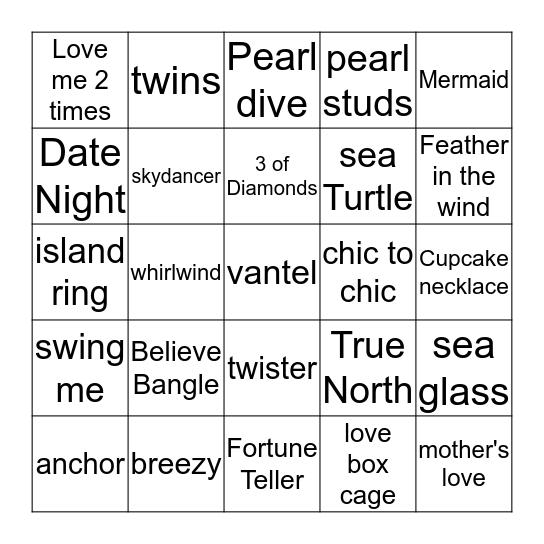 Darla's I got Pearls Bingo card Bingo Card
