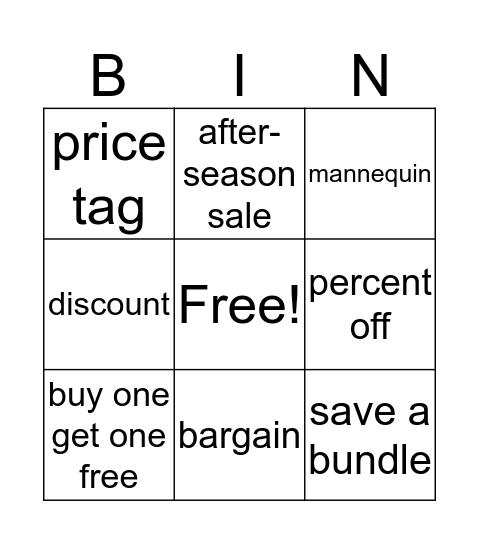 Bargaining Bingo Card