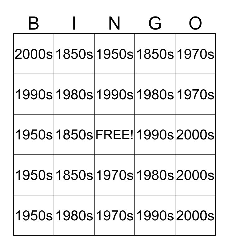 Melodrama Social Issues Bingo Card