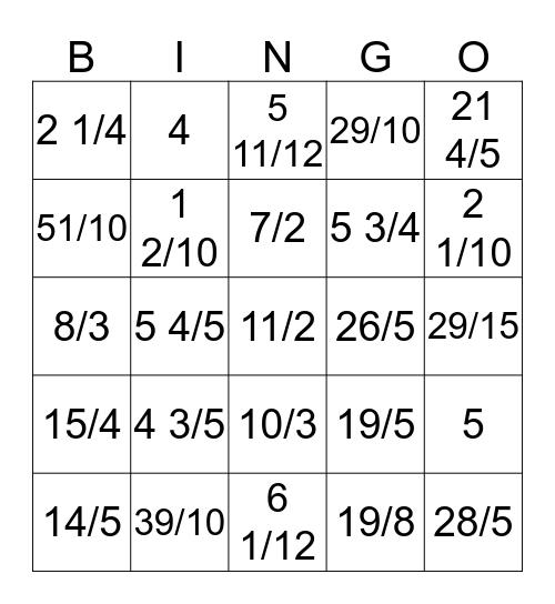 Mixed Number - Improper Fraction Bingo Card