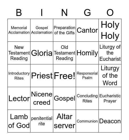 order of the mass bingo Card