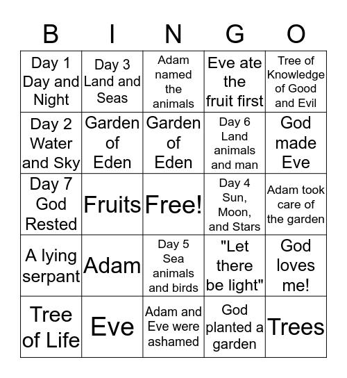 Creation Bingo Card