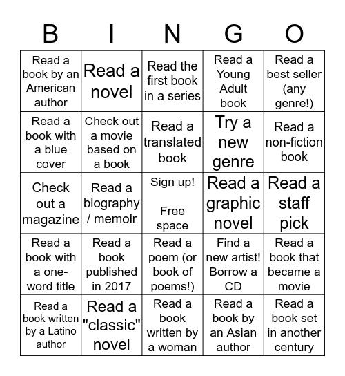 Reading Challenge Bingo Card