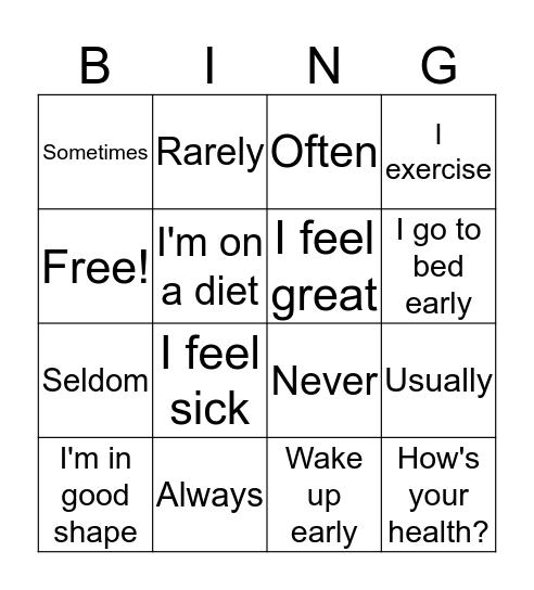 Frequency adverbs Bingo Card