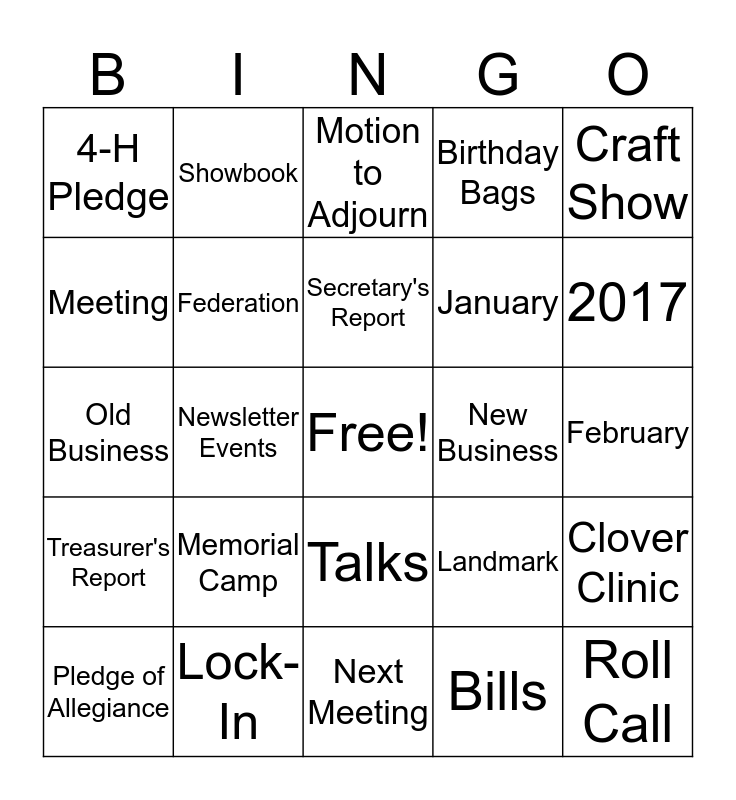 4-H Meeting Bingo Card